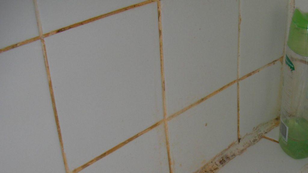 Fughe delle piastrelle in bagno rosa arancioni con muffe nere